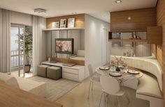 sala de TV e de jantar planejada para apartamento