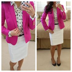pink spring blazer , polka dot blouse , white pencil skirt Spring Outfit Ideas for Work Moda Fashion, Petite Fashion, Trendy Fashion, Fashion Spring, Meeting Outfit, Stylish Petite, Professional Attire, Office Outfits, Work Outfits