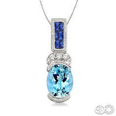 8X6mm Oval Cut Aquamarine, 2.2mm Princess Cut Sapphire and 1/20 Ctw Round Cut Diamond Pendant in 14K White Gold with Chain www.christensenjewelers.com
