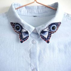 [ VISIT FOR MORE Embroidered Butterfly Collar Shirt The post Embroidered Butterfly Collar Shirt appeared first on jeans. The post [ VISIT FOR MORE Embroidered Butterfly Collar Shirt The post Embroidered appeared first on Win Moda. Embroidery On Clothes, Shirt Embroidery, Embroidered Clothes, Embroidery Fashion, Embroidery Patches, Embroidery Patterns, Butterfly Embroidery, Embroidered Butterflies, Couture Embroidery
