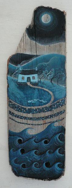 Painted on driftwood by Valerie Leblond