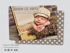 Baby Boy Birth Announcement  clean modern by icingonthepaper, $1.65