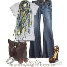 Plain grey t-shirt with a great scarf.