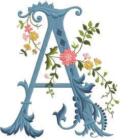 alfabeto celeste con flores A