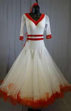 White with Red Edging Ballroom Dress