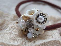 handmade accessory crafts beads vintage  Hair Elastic   white flower