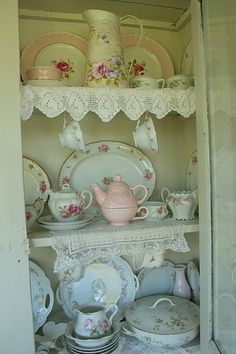 """Vintage China shabby chic China Hutch to collect """"real"""" tea party dishes in Shabby Cottage, Cottage Chic, Cottage Style, Shabby Bedroom, Cottage Design, Victorian Decor, Victorian Homes, Victorian Teacups, Victorian Era"""