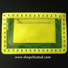 Studded Jumbo Transparent Clutch Bag - Neon Yellow - Gold Chain - Gold Studs by ShopChicStud