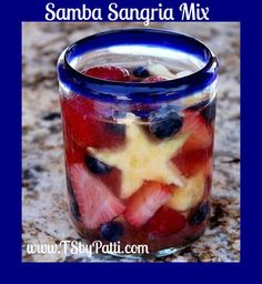 4th of July sangria YUM Our Samba Sangria is awesome!! What a cute idea to add some star shaped fruit!!