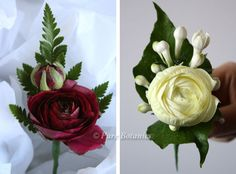Burgundy red and white ranunculus buttonholes