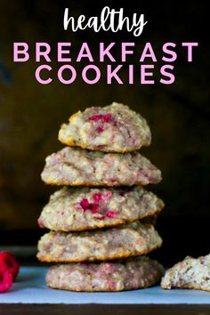 Who says you can't have cookies for breakfast? These cookies are packed full of healthy nutrients such as raspberries, oats, and yogurt! A quick and easy breakfast plus an easy breakfast idea for kids!