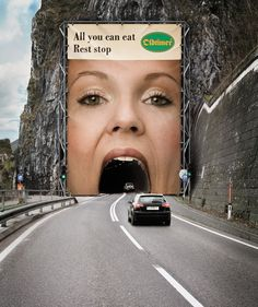 THIS IS THE REAL TUNNEL & BILLBOARD. ~K~ Many people thought that this was a fake photoshop image but this site confirms that it is REAL. :   (33 Clever and Creative Billboard Ads | Bored Panda