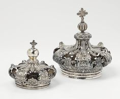 Two silver crowns for Madonna figures. Unmarked, probably South Germany, 19th C.