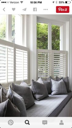 Bow window treatments Want to create a window seat in your bay window? Shutters are streamlined enou Bedroom Windows, Living Room Windows, Blinds For Windows, Bedroom Curtains, Diy Bedroom, Blinds Curtains, Windows With Shutters, Living Room With Bay Window, Window Seat Curtains