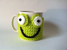 Crochet Frog Cup Cosy Lime Green Yarn by KnitADeeDooDah on Etsy, £7.50