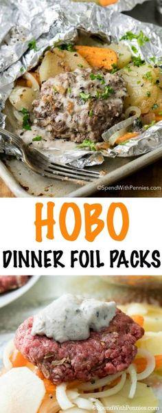Hobo Dinner Foil Packets (Hamburger & Potato) - Spend With P.- Hobo Dinner Foil Packets (Hamburger & Potato) – Spend With Pennies - Cheap Easy Meals, Cheap Dinners, Quick Meals, Easy Cheap Dinner Recipes, Cheap Food, Foil Packet Dinners, Foil Pack Meals, Tin Foil Dinners, Oven Foil Packets