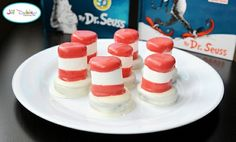Dr Suess Week - Dipped Oreo and dipped marshmallow = Cat in the hat hats!
