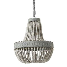 """Aged Wood Beaded Chandelier Classic style meets rustic charm with this distressed chandelier featuring a fall of weathered white wooden beads. 40 watt medium base bulb max. (24.5""""Hx20.5""""W)."""
