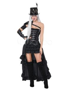 b27debf271a Halloween Costume Gothic Steampunk Black Women Asymmetrical Skirt Corset  Set 3 Piece  Steampunk