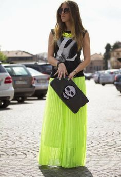 Gorgeous black and grey sleeveless blouse with bright green yellow maxi dress and leather bag and necklace