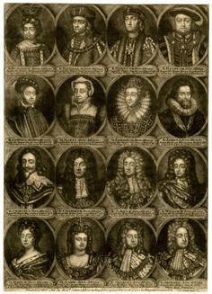 The Kings and Queens of England, busts in oval frames, in four rows of four, with the names, dates and burial places of each below; second plate, Edward V, Richard III, Henry VII, Henry VIII, Edward VI, Mary I, Elizabeth I, James I, Charles I, Charles II, James II, William III, Mary II, Anne, George I and George II; lettered state.  Mezzotint