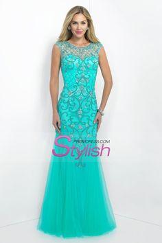 2016 Scoop Mermaid Prom Dresses Beaded Bodice Tulle Floor Length