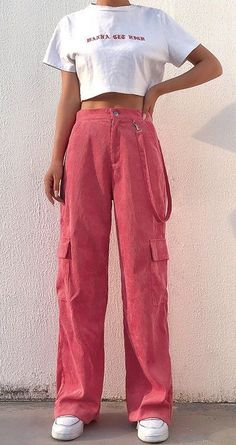 Pink Corduroy Trousers with Ribbon - You are in the right place about clothes for women business Here we offer you the most beautiful pictures about the clothes f Mode Ootd, Mode Hijab, Vintage Outfits, Retro Outfits, Vintage Pants, Streetwear Mode, Streetwear Fashion, Looks Chic, Looks Style