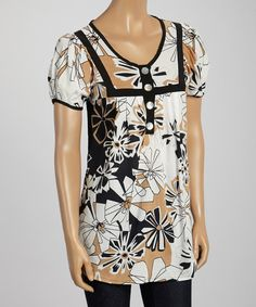 Claudia Richard Taupe & Black Floral Button Top - Women & Plus by Claudia Richard #zulily #zulilyfinds