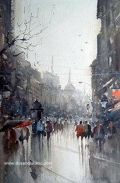 Dusan Djukaric watercolor rainy Knez