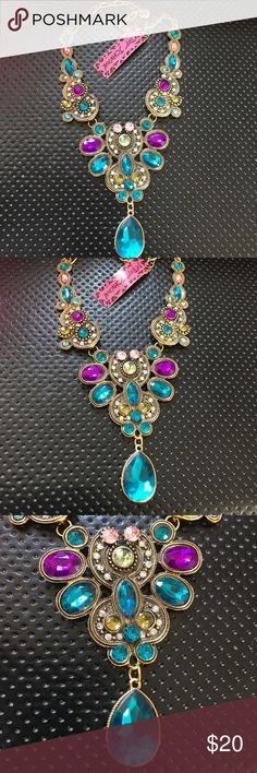 Betsy Johnson Crystal Necklace length size is about 23.6 Betsey Johnson Jewelry Necklaces