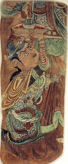 Demonic figure - Bezeklik, Cave date: Wall painting. Ajanta Ellora, Ancient Art, Ancient Ruins, Dunhuang, Organic Art, Historical Artifacts, Buddhist Art, Traditional Paintings, China Painting