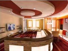 10 Red gypsum false ceiling design for living room 2015