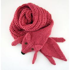Hand knit long fox scarf in strawberry red with polymer clay buttons ($108) ❤ liked on Polyvore