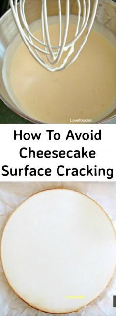 To avoid Cheesecake Surface Cracking. A great guide with tips and tricks to help you bake. Perfect Cheesecake Perfect Cheesecake How To avoid Cheesecake Surface Cracking. A great guide with tips and tricks to help you bake a perfect cheesecake! No Bake Desserts, Just Desserts, Delicious Desserts, Dessert Recipes, Lunch Recipes, Holiday Desserts, Cupcakes, Cupcake Cakes, Bon Dessert