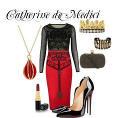 Queen Catherine De Medici inspired outfit by me! She's a pretty deadly, kick butt character. Featuring Louboutin, Alexander McQueen, Armenta, Pink Mascara and Chanel
