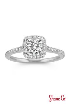 Halo diamond engagement ring that you can get at @shanecompany!