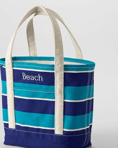 Love these tote bags! Medium Stripe Open Top Tote from Lands' End