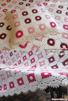 liveinternet.ru Crochet Blocks, Crochet Squares, Knot Blanket, Square Blanket, Mandala Yarn, Knit Crochet, Crocheted Afghans, Blanket Crochet, Crochet Blankets