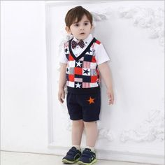 Baby Boys Clothes Boys Clothing Sets Boys Gentleman Outfits Stylish Stars Patchwork Tops with Bow And Shorts 0-4T from Smartmart,$10.72 | DHgate.com