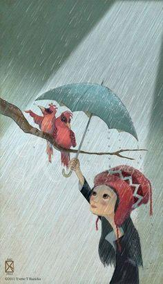 lluvia, ilustración de Yvette T Ruzicka