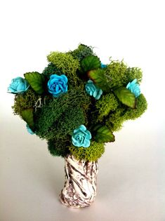 Miniature Blue Flowering Tree Palnts fairy by EnchantedHomes