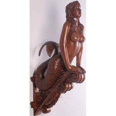 A Mermaid Ship Figurehead Ship Figurehead, Tropical Home Decor, Mermaids And Mermen, Merfolk, Mermaid Art, Wood Sculpture, Wall Sculptures, Home Decor Wall Art, Sea Creatures