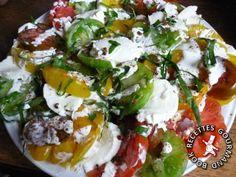 Carpaccio de tomates multicolores