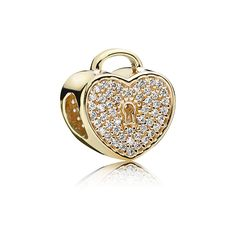 Gold Heart Lock Charm [750833CZ] - £45.00 :