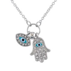 'Hamsa' Evil Eye Necklace Clear Cubic Zirconia & Enamel Detailed Silver Charms  | eBay