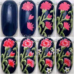 Nails By Celine: Floral Nail Art & Tutorial Dot Nail Art, Black Nail Art, Floral Nail Art, Nail Art Diy, So Nails, Cute Nails, Nail Art Designs, Nails Decoradas, Nail Polish Painting