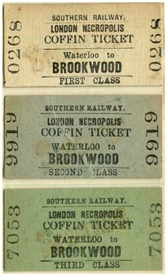 london necropolis coffin tickets and class possible idea for colour palette if we go down the funeral train cemetery route