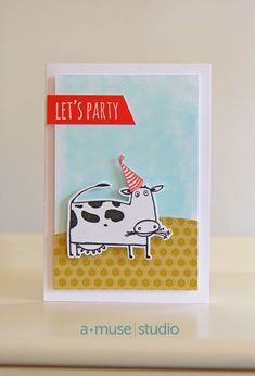 Let's Party with the Go Hog Wild stamp set from A Muse Studio (March Collection).  #birthday #handmadecard #cow   More card ideas on our website (blog) www.amusestudio.com