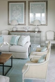 soothing palate. I love that a few different pillows and new art would give this room a whole new feel