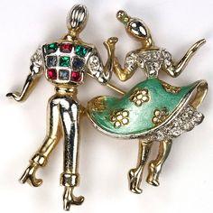 Boucher Jitterbug Jiving Dancing Couple Pin